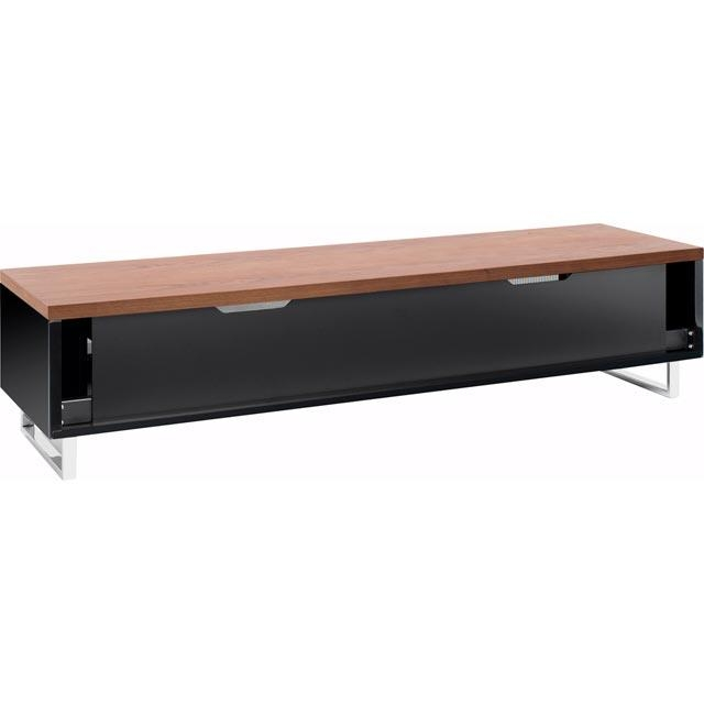 Techlink Panorama Pm160W Piano Black & Walnut Tv Stand For Up To Intended For Most Recently Released Techlink Panorama Walnut Tv Stand (Image 8 of 20)