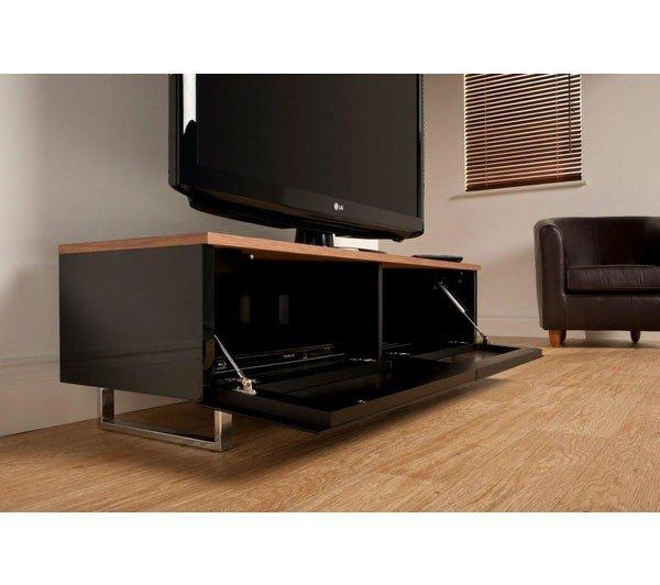 Techlink Pm120W Panorama Piano Gloss Black And Walnut Small Tv Throughout 2017 Techlink Panorama Walnut Tv Stand (Image 14 of 20)