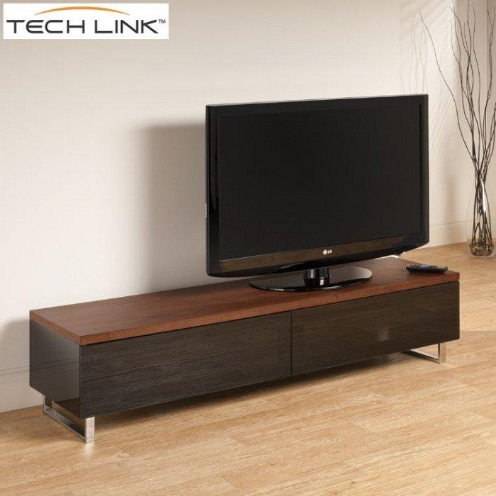 Techlink Pm160W Panorama Piano Gloss Black And Walnut Large Tv Inside Current Techlink Panorama Walnut Tv Stand (View 2 of 20)