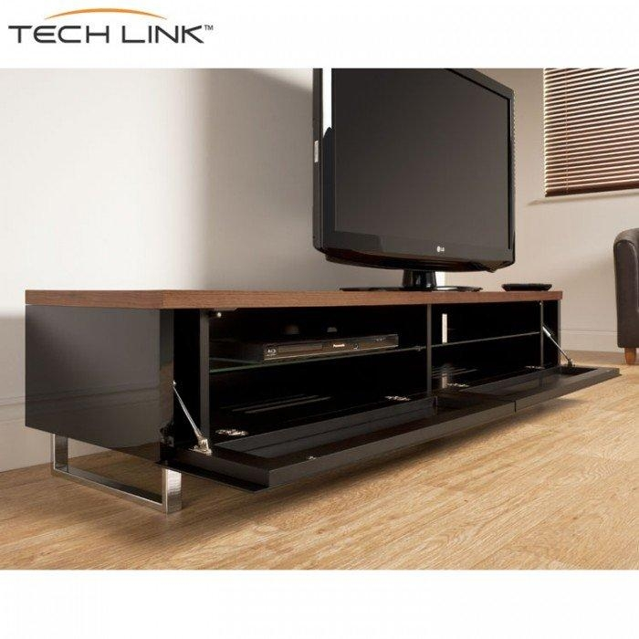 Techlink Pm160W Panorama Piano Gloss Black And Walnut Large Tv Regarding Latest Techlink Panorama Walnut Tv Stand (View 7 of 20)
