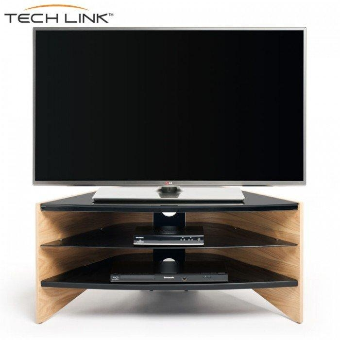 Techlink Rv100Lo Riva Corner Tv Stand In Light Oak And Black Glass Inside Newest Glass And Oak Tv Stands (Image 17 of 20)