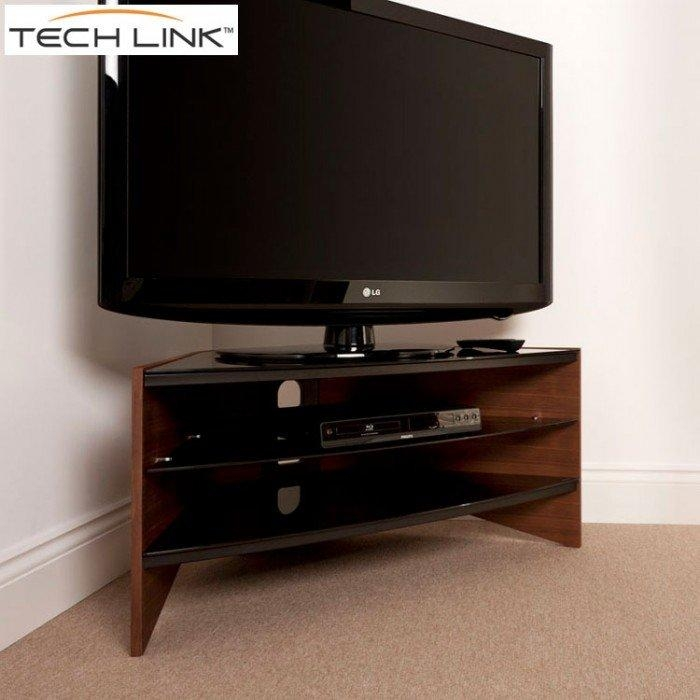Techlink Rv100W Riva Corner Tv Stand In Walnut And Black Glass With Regard To Best And Newest Techlink Riva Tv Stands (Image 14 of 20)