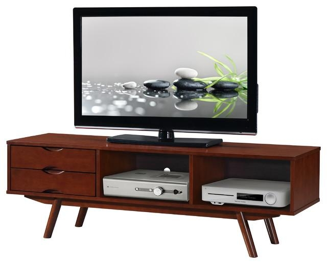 Techni Mobili Elegant Wood Veneer 65 Tv Stand With Storage, Walnut Throughout Most Recent Storage Tv Stands (View 10 of 20)