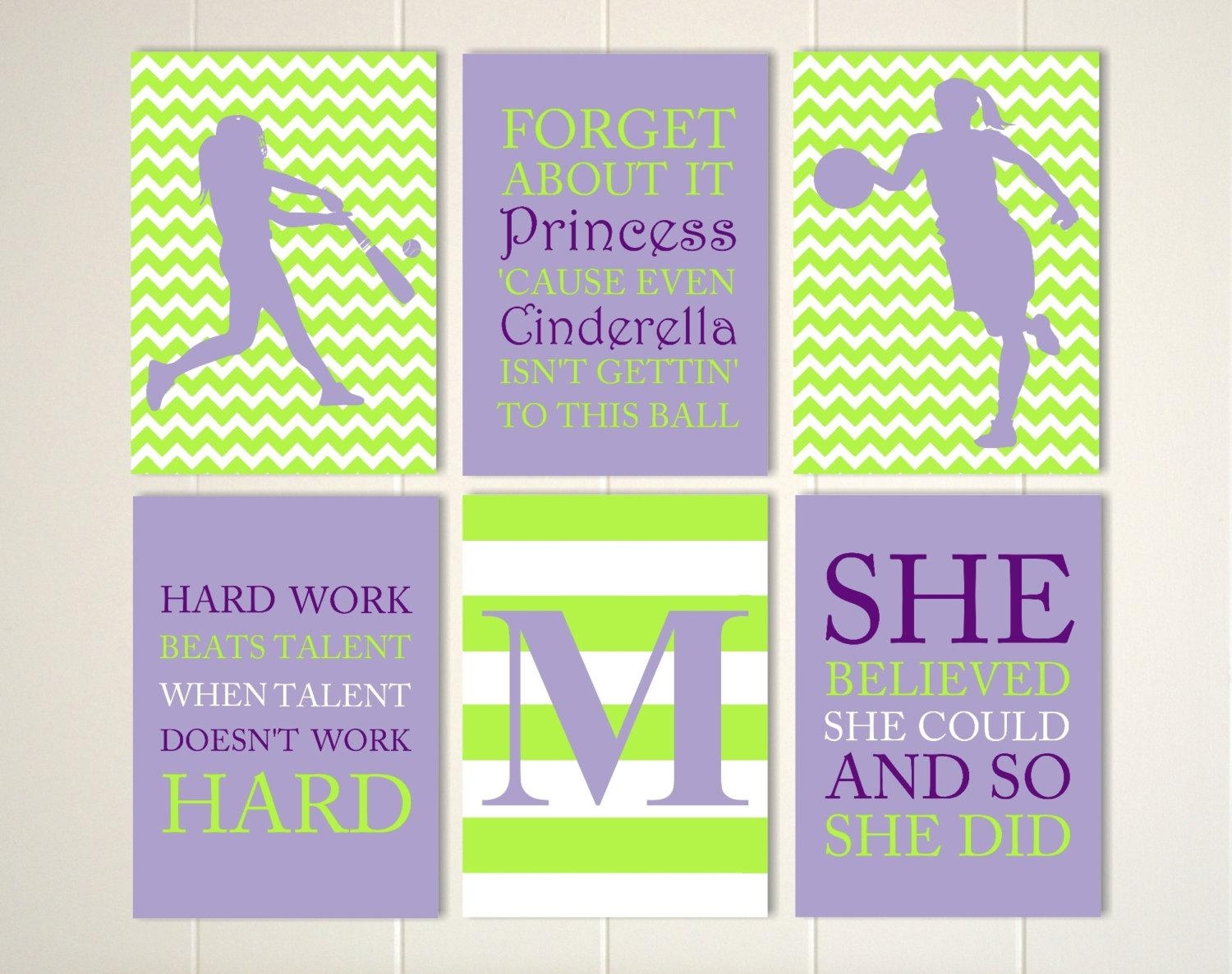 Teen Girl Wall Art Basketball Girls Art Softball Art Regarding Inspirational Wall Art For Girls (View 8 of 20)