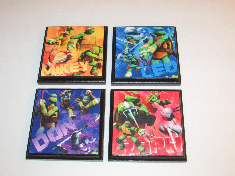Teenage Mutant Ninja Turtle Set 1 Room Wall Plaques Set Of Pertaining To Tmnt Wall Art (Image 15 of 20)