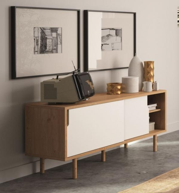 Temahome Dann, Modern Compact Tv Cabinet In White/ Oak Finish In Most Current Contemporary Oak Tv Cabinets (Image 16 of 20)