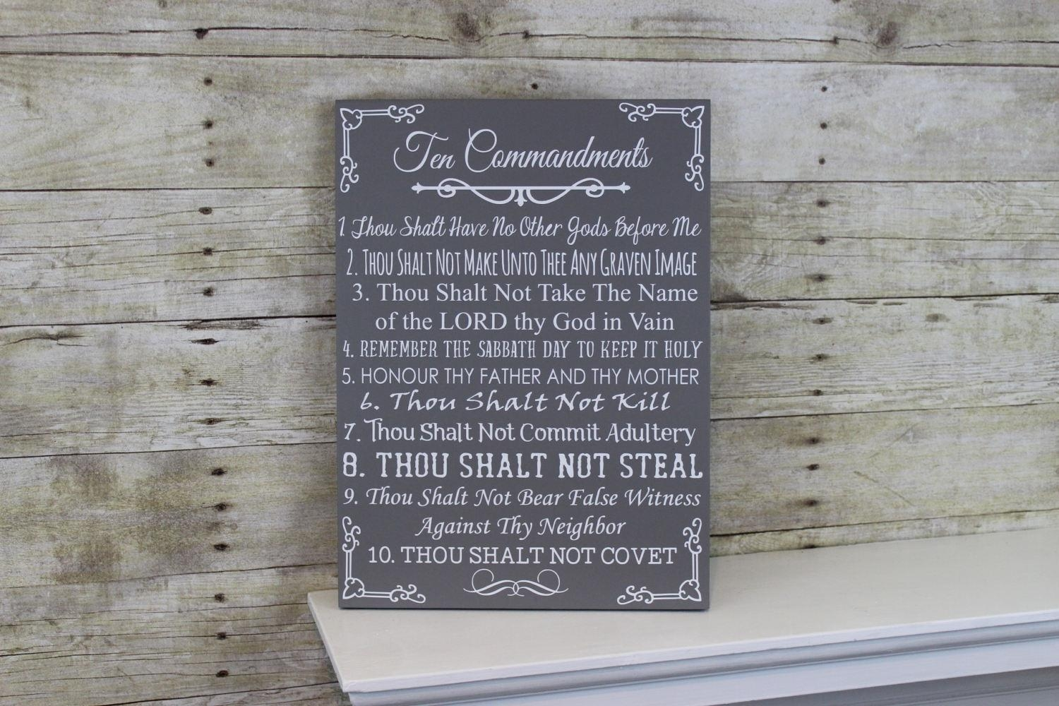 Ten Commandments Bible Wood Sign 10 Commandments Wall Art Throughout 10 Commandments Wall Art (Image 14 of 20)