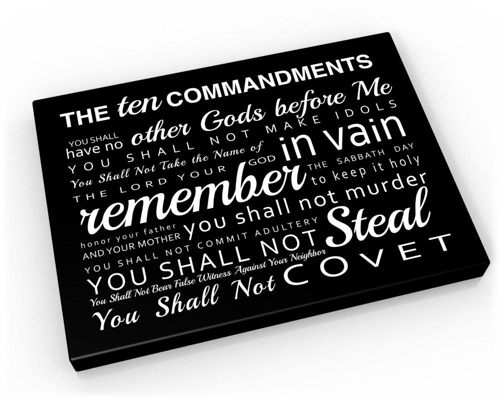 The 10 Commandments On Canvas Religious Word Art Ten With Ten Commandments Wall Art (Image 16 of 20)