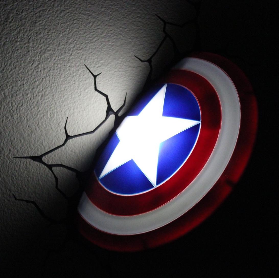 The Avengers 3D Wall Nightlight – Captain America | This Stuff Online In The Avengers 3D Wall Art Nightlight (View 12 of 20)