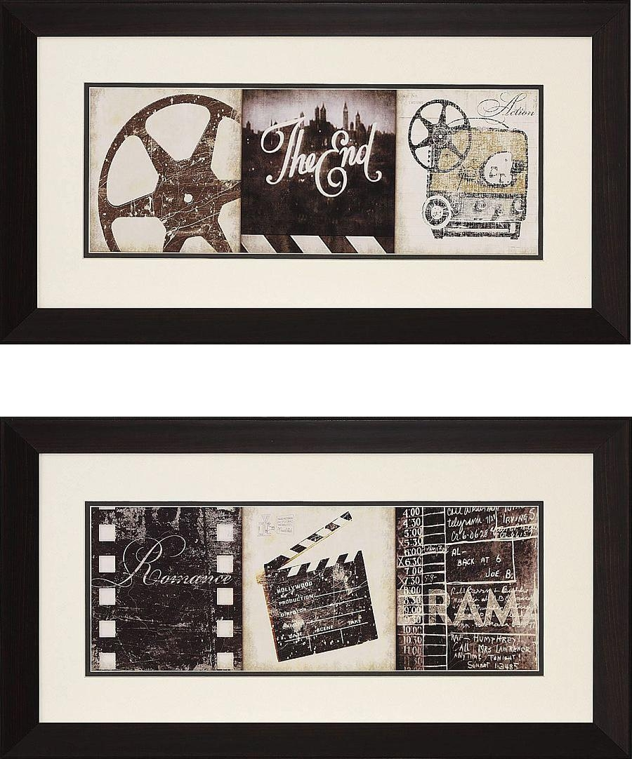 "The Drama"" And Film Clapboard Framed Theater Wall Art Pair Throughout Movie Reel Wall Art (View 13 of 20)"