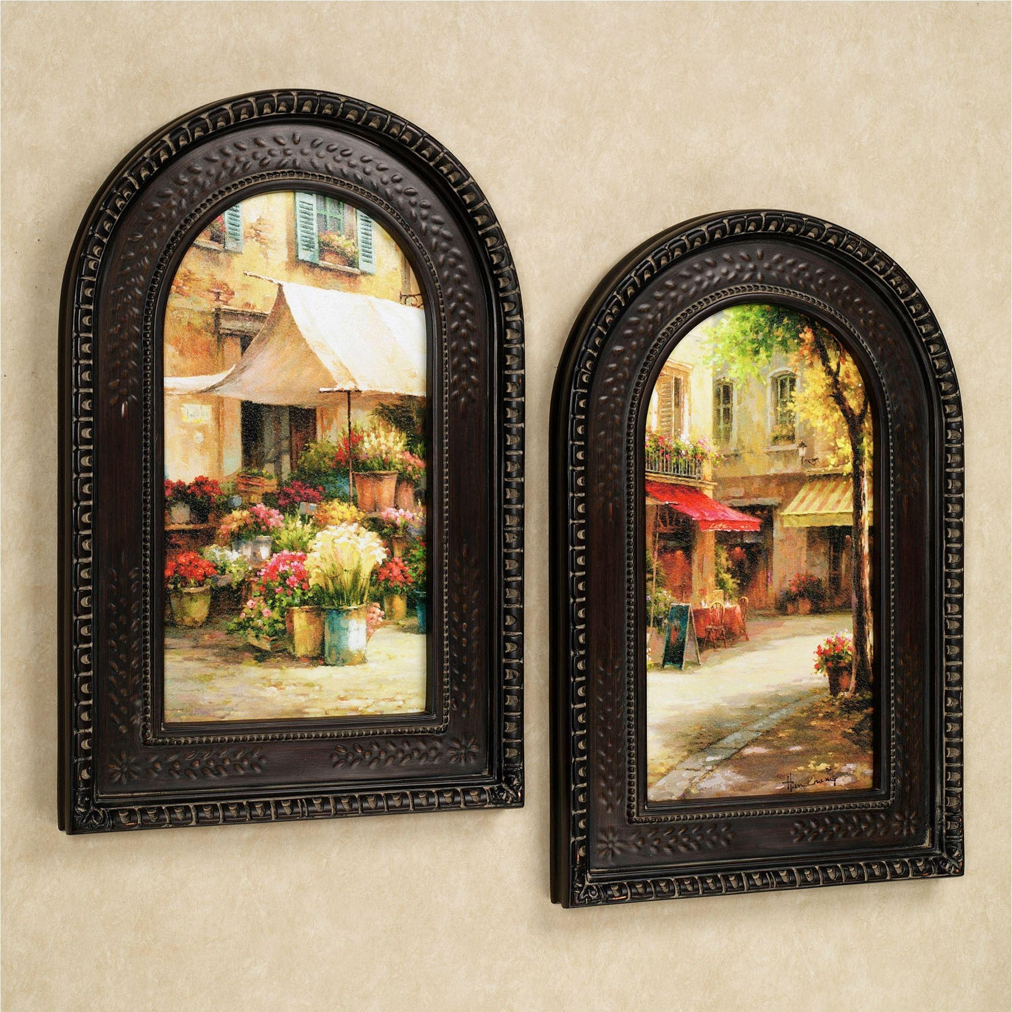 The Flower Market Arched Framed Wall Art Set For Italian Plaques Wall Art (Image 9 of 20)