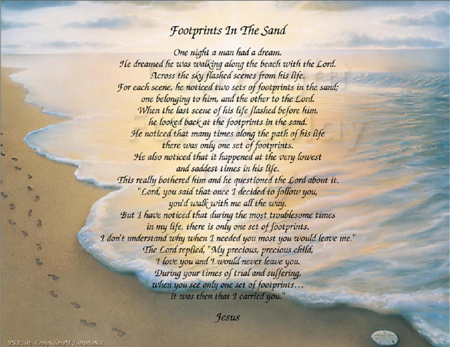 The Footprints In The Sand Poem Christian Poem Inside Footprints In The Sand Wall Art (Image 20 of 20)