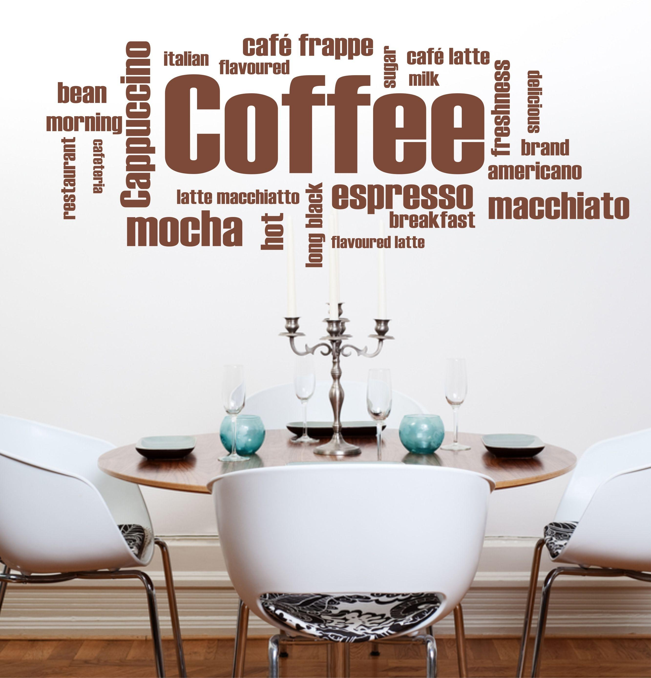 The Grafix Studio | 09 Coffee Words Wall Art Sticker In Italian Cafe Wall Art (Image 15 of 20)
