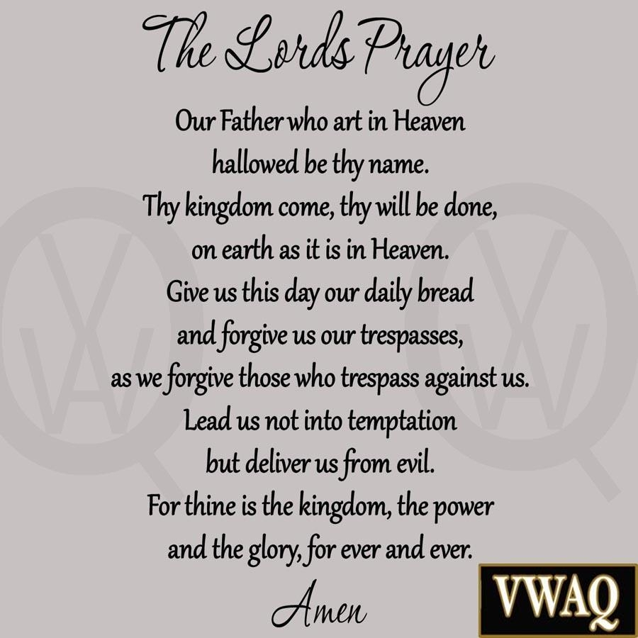 The Lord's Prayer Bible Wall Decal Our Father Vinyl Wall Art With Regard To Scripture Vinyl Wall Art (Image 14 of 20)