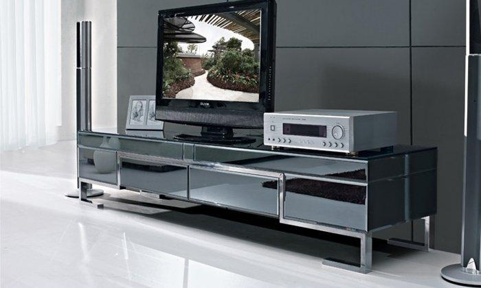 The Stylish Simplicity Of Stainless Steel Black Painted Tempered In Most Popular Glass Tv Cabinets (Image 16 of 20)