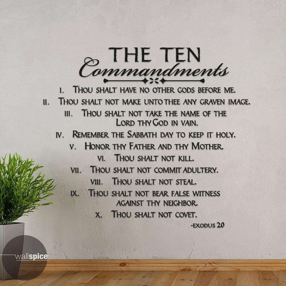 The Ten Commandments Exodus 20 Vinyl Wall Decal Sticker Pertaining To Ten Commandments Wall Art (Image 17 of 20)