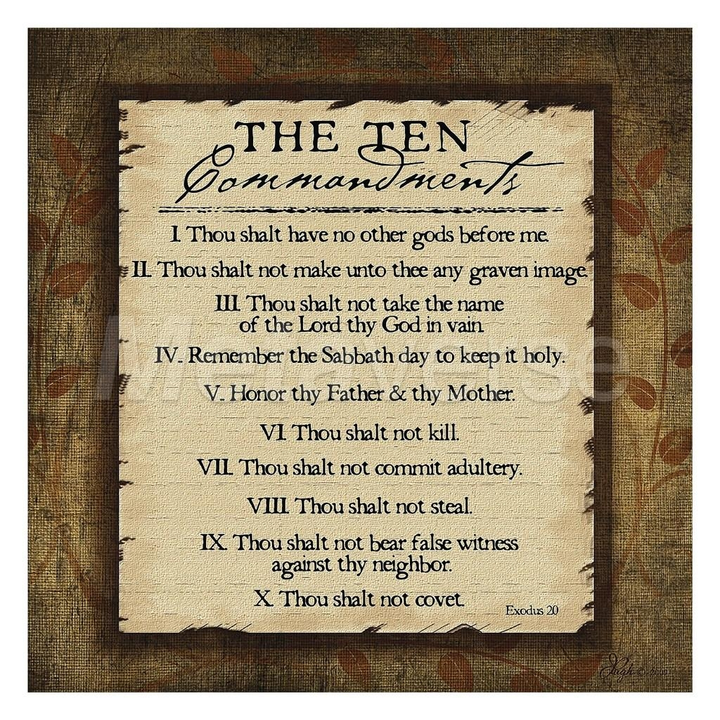 The Ten Commandments Wall Art Poster On Wall Art To Inspire With Regard To 10 Commandments Wall Art (Image 16 of 20)
