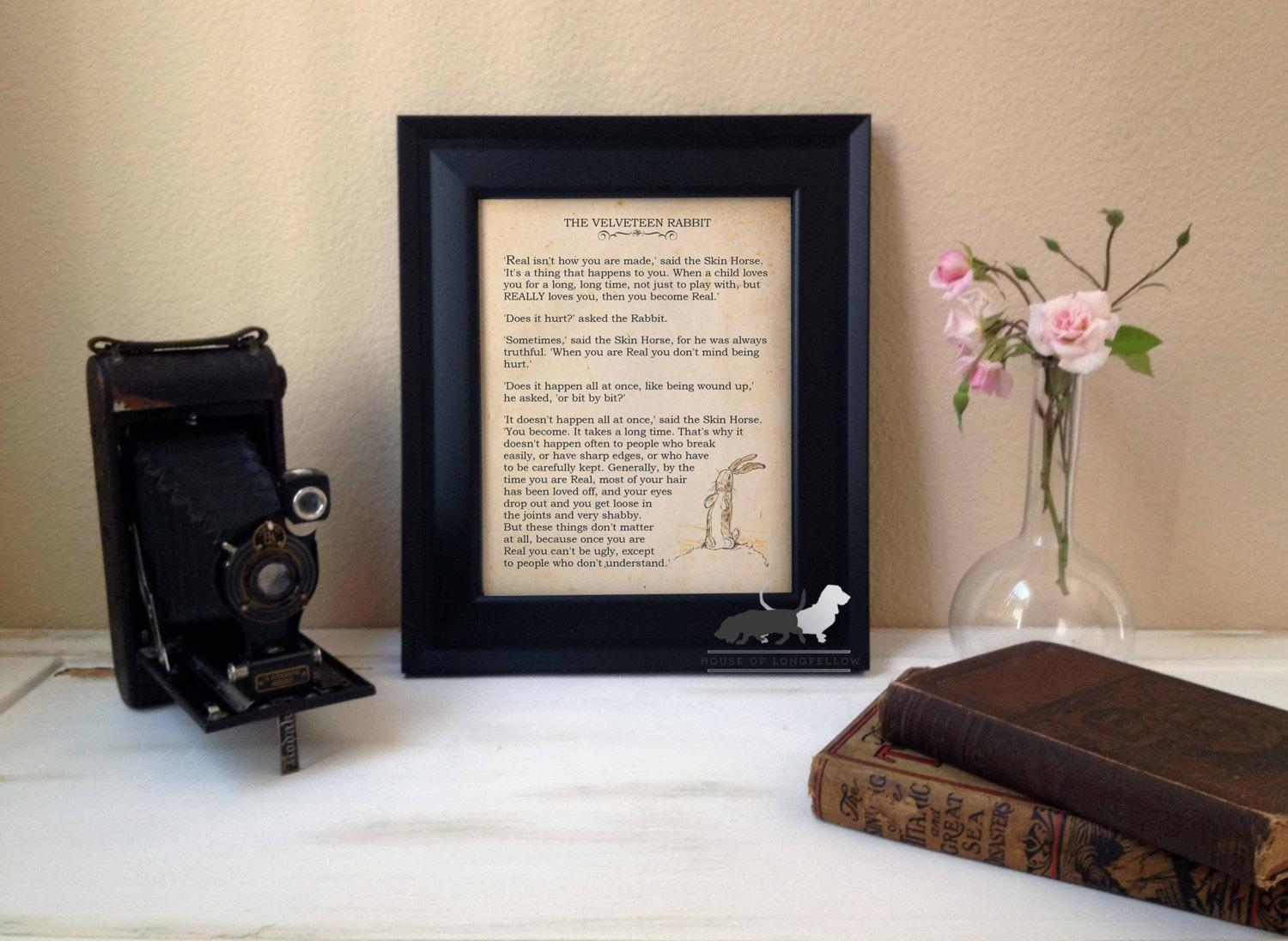 The Velveteen Rabbit Real Quote Custom Art Print Inside Velveteen Rabbit Wall Art (Image 11 of 20)