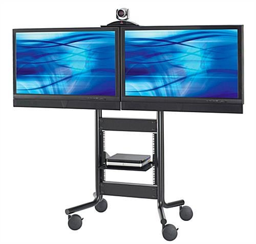 These Dual Tv Stands On Wheels Have A Moveable Camera Shelf! These In Most Up To Date Dual Tv Stands (Image 18 of 20)