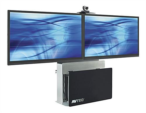 This Tv Stand Holds Two Flat Panel Monitors On The Steel Mount Within Most Up To Date Dual Tv Stands (Image 19 of 20)