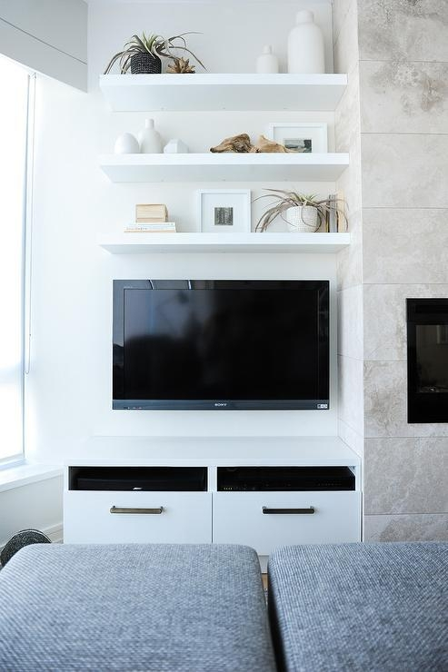 Three Floating Shelves Over Wall Mount Tv – Transitional – Living Room Throughout Best And Newest Over Tv Shelves (Image 18 of 20)