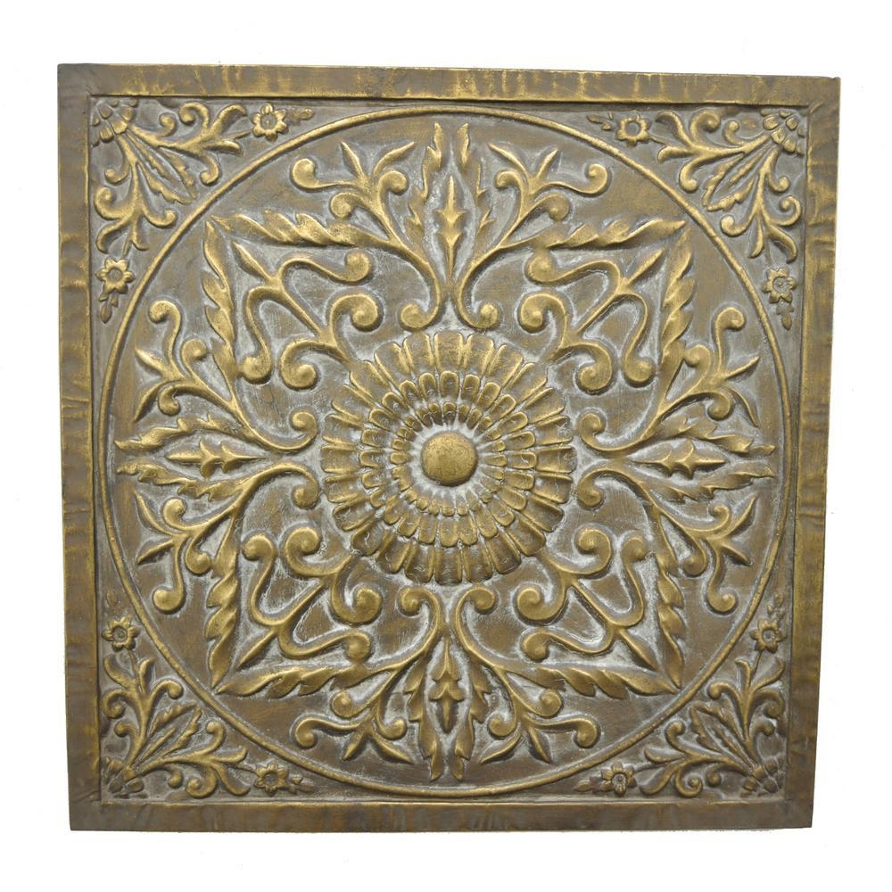Three Hands Square Medallion Wall Art 57521 – The Home Depot For Metal Medallion Wall Art (Image 9 of 20)