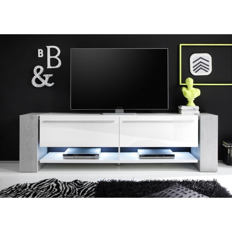 Time Ii – Large White Tv Stand With Stone Imitation Legs – Tv In Current Large White Tv Stands (Image 15 of 20)