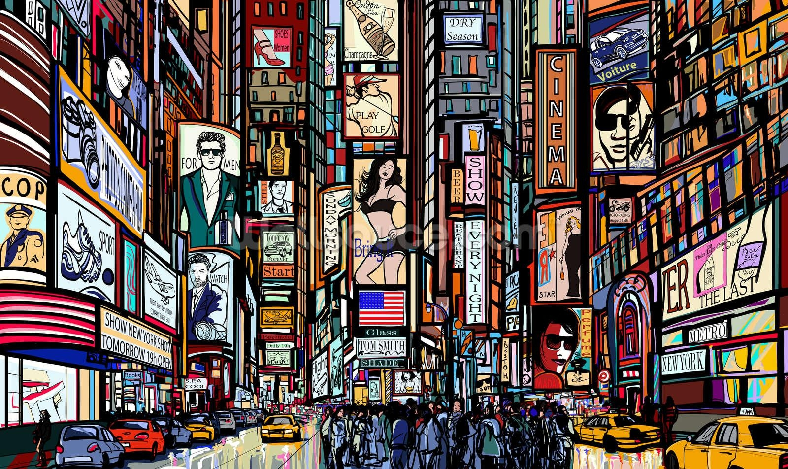 Times Square Abstract Wallpaper Wall Mural | Wallsauce Usa Intended For Abstract Art Wall Murals (View 18 of 20)