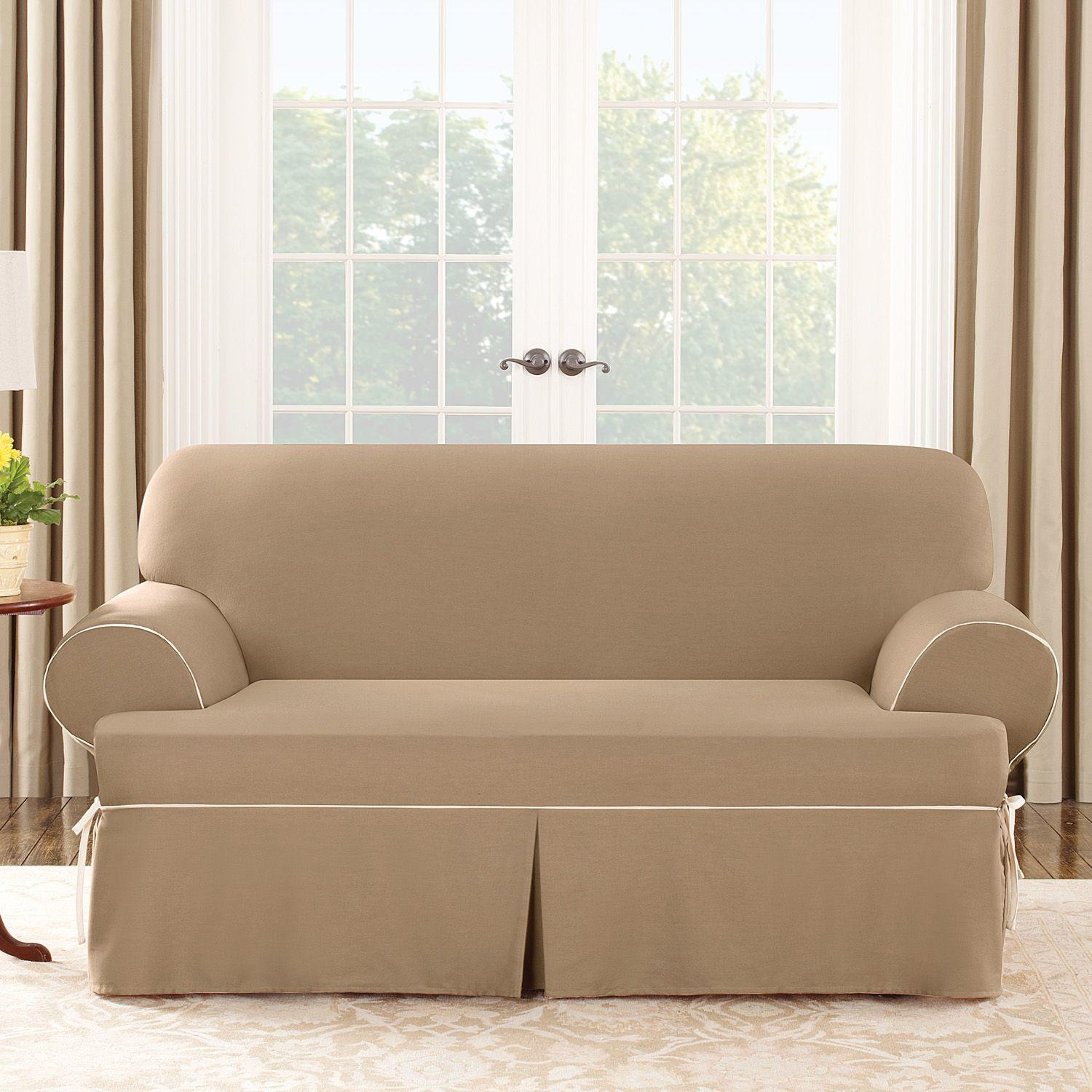 Tips: Soft T Cushion Chair Slipcovers For Elegant Interior Pertaining To Sofa Loveseat Slipcovers (View 17 of 25)