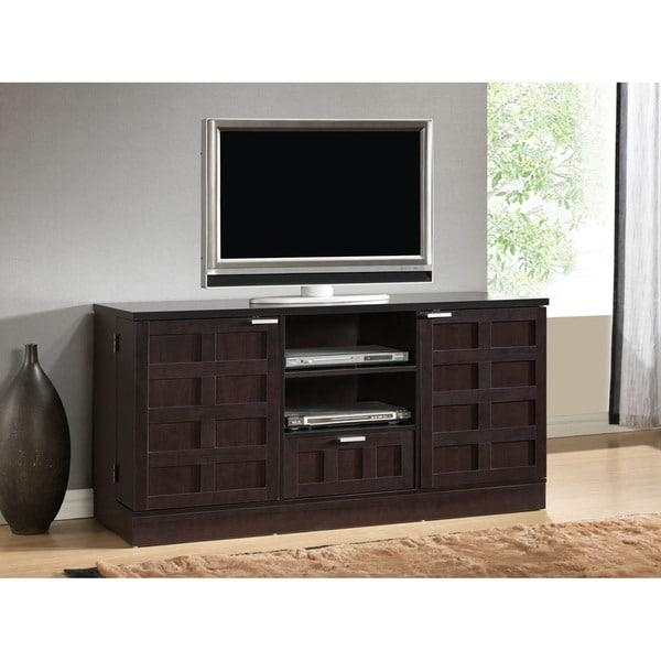 Tosato Shaker Style Brown Wood Tv Stand And Media Cabinet – Free Throughout Latest Rectangular Tv Stands (Image 17 of 20)