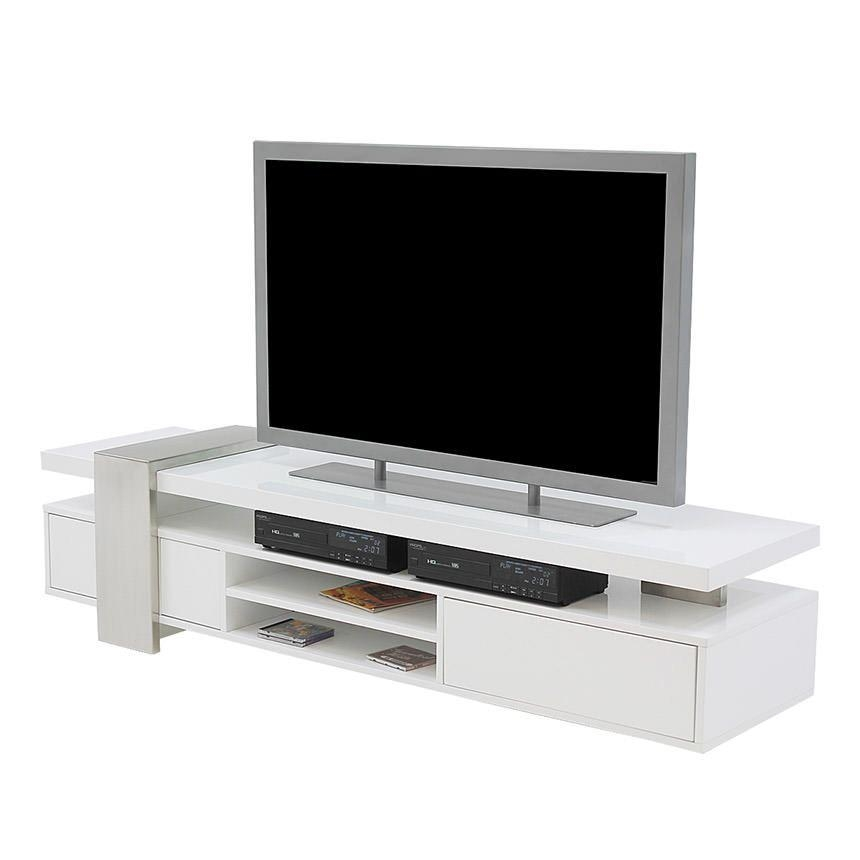 Totem White Tv Stand | El Dorado Furniture Regarding Most Recently Released White Tv Stands (View 18 of 20)
