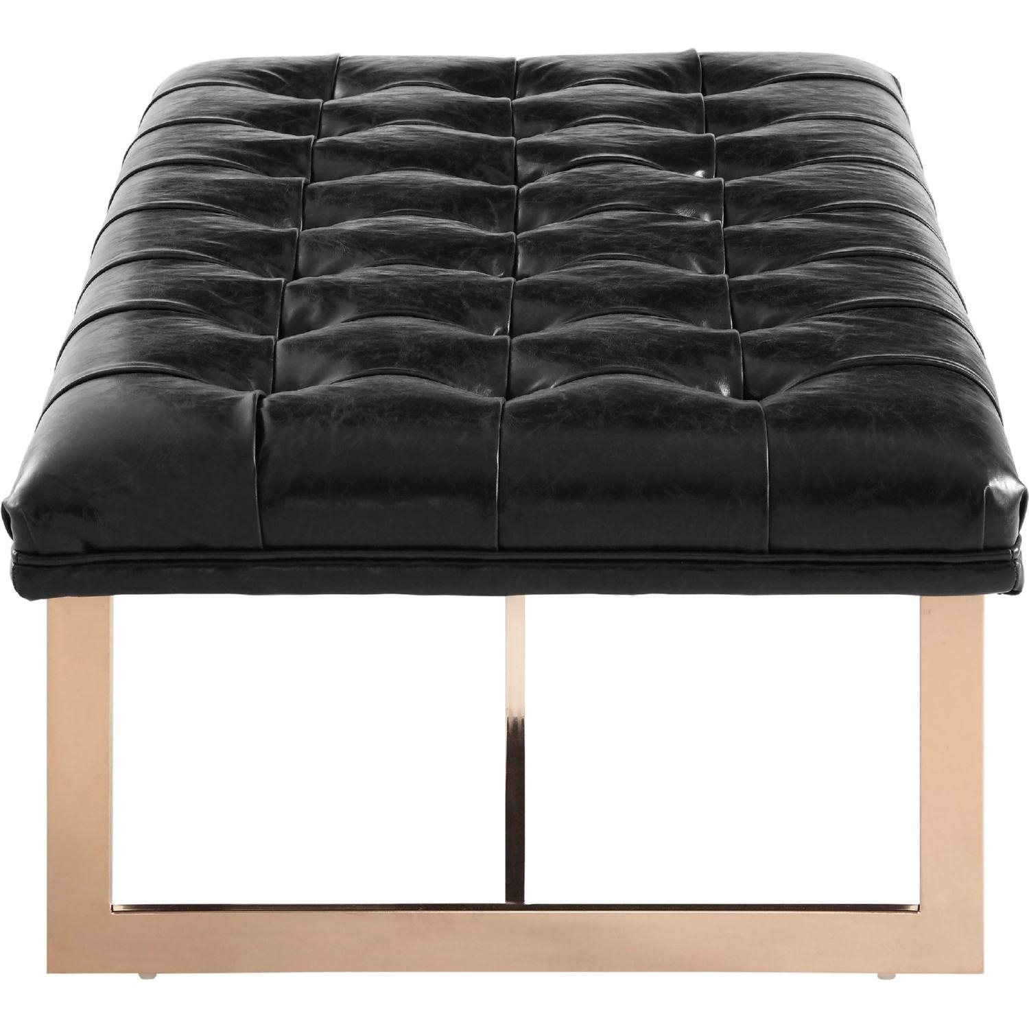 Tov Furniture Tov O53 Oppland Tufted Black Leather Bench W/ Gold Legs With Leather Bench Sofas (View 21 of 22)