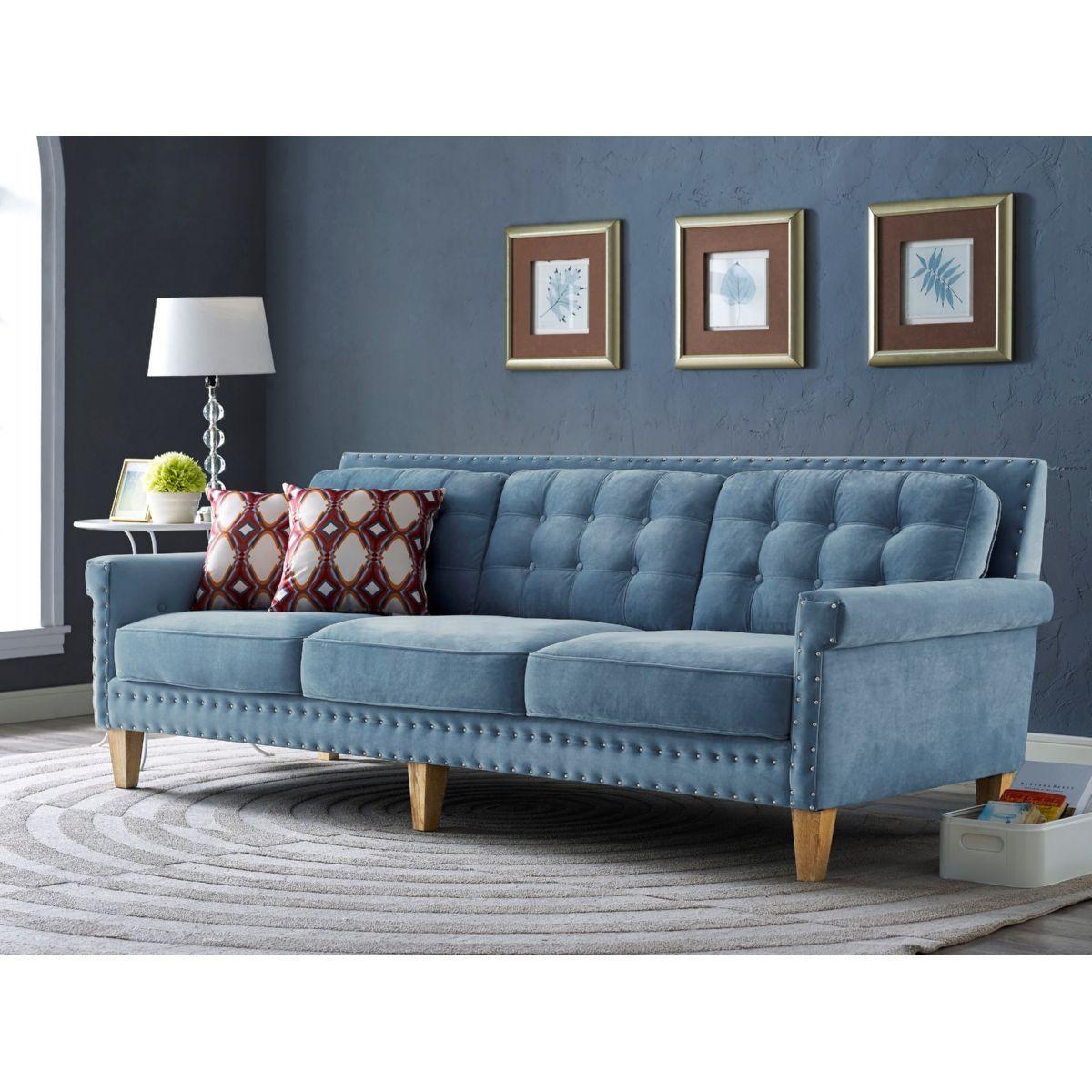 Tov Furniture Tov S75 Jonathan Tufted Blue Velvet Sofa W/ Silver For Blue Tufted Sofas (View 21 of 22)