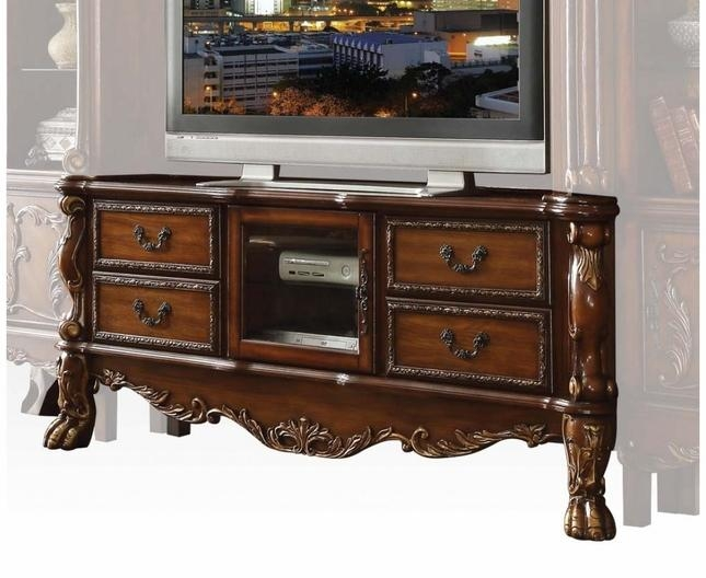 Traditional Carved Wood Tv Stand In Antique Cherry Oak Inside Newest Cherry Wood Tv Stands (View 14 of 20)