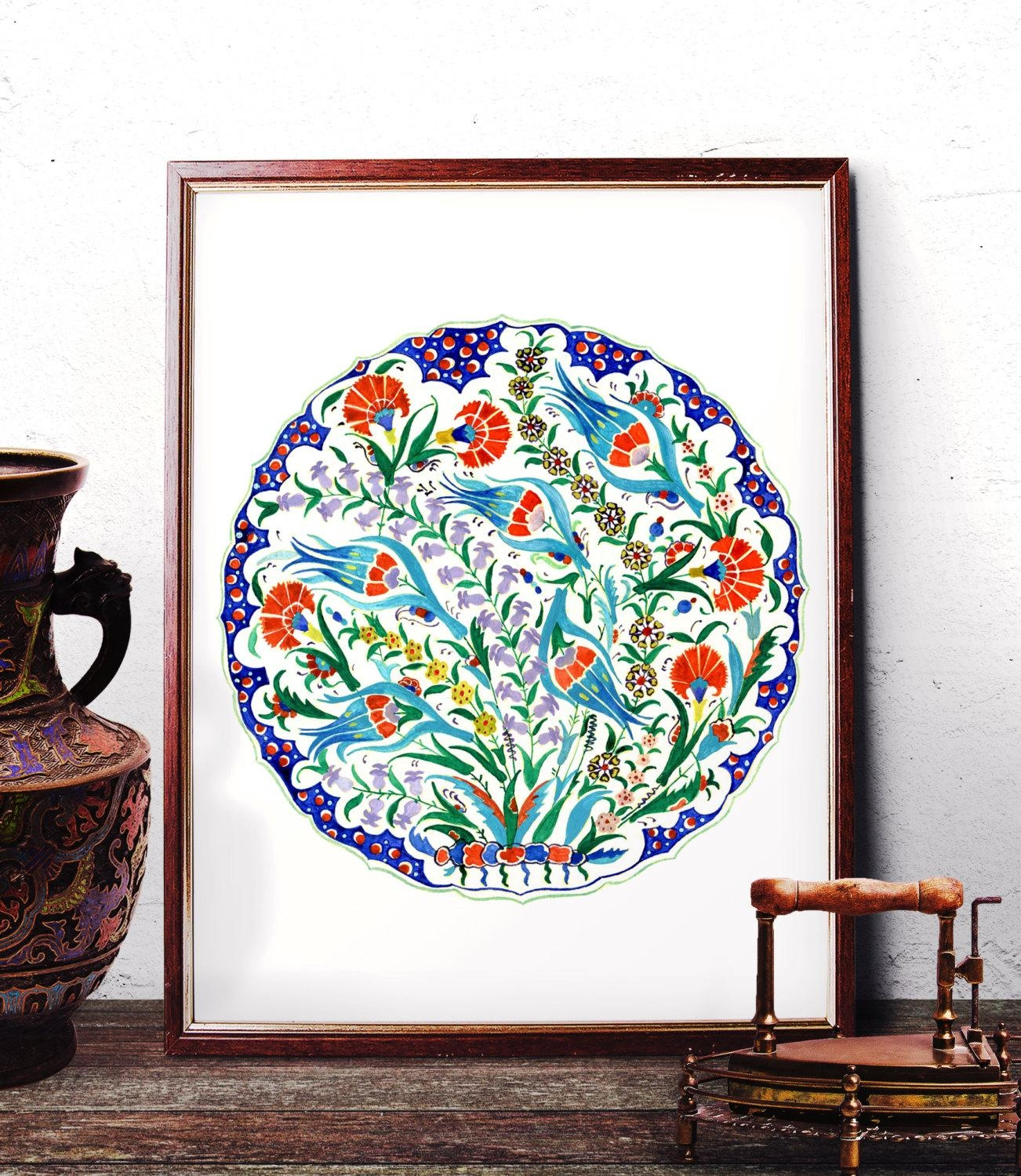 Traditional Iznik Blue Tulip Red Carnation Watercolor Art With Regard To Turkish Wall Art (View 11 of 20)