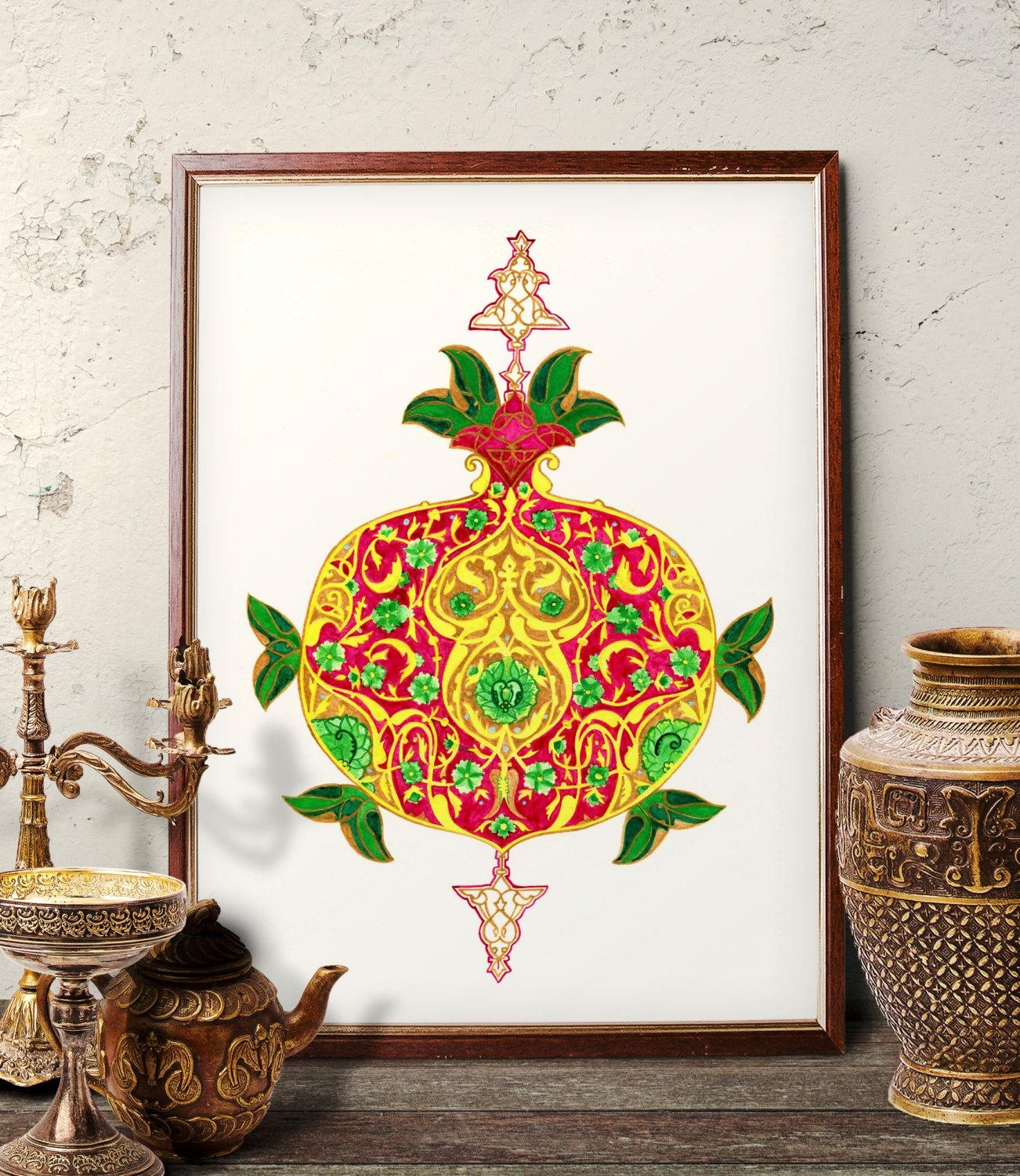 Traditional Turkish Pomegranate Watercolor Painting Ottoman Inside Turkish Wall Art (View 7 of 20)