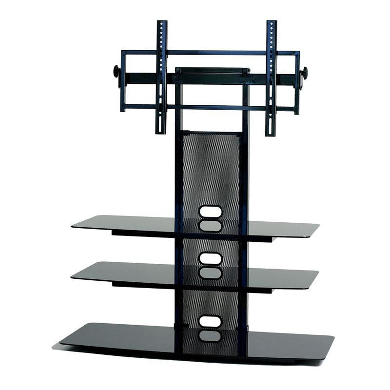 Transdeco Black Glass Tv Stand With Integrated Flat Panel Mount Regarding Latest 65 Inch Tv Stands With Integrated Mount (Image 9 of 20)