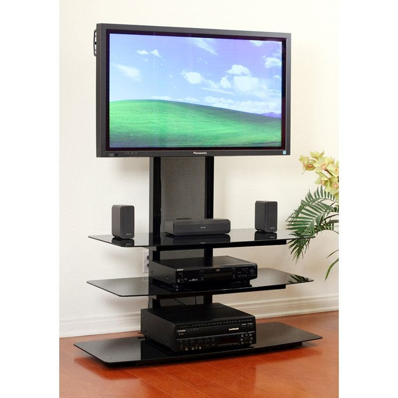 Transdeco Black Glass Tv Stand With Integrated Flat Panel Mount Throughout Best And Newest Tv Stands For 55 Inch Tv (View 15 of 20)