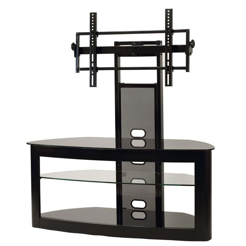 Transdeco Glass Tv Stand With Mounting System For 35 65 Inch Intended For Recent 65 Inch Tv Stands With Integrated Mount (Image 12 of 20)
