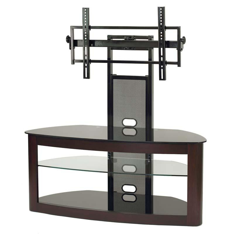 Transdeco Glass Tv Stand With Mounting System For 35 65 Inch With Regard To Most Current Tv Stands For 43 Inch Tv (Image 16 of 20)