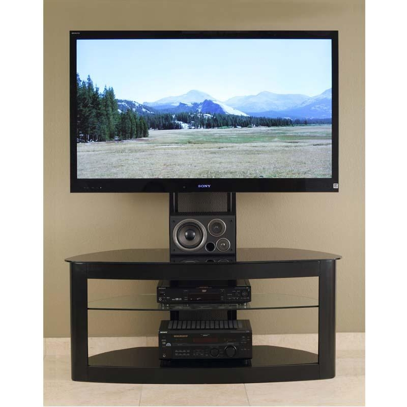 Transdeco Glass Tv Stand With Mounting System For 35 65 Inch Within Most Popular 65 Inch Tv Stands With Integrated Mount (View 11 of 20)