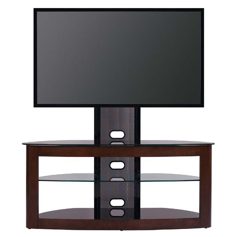 Transdeco Glass Tv Stand With Mounting System For 35 To 65 Inch With Most Recent Glass And Oak Tv Stands (View 15 of 20)