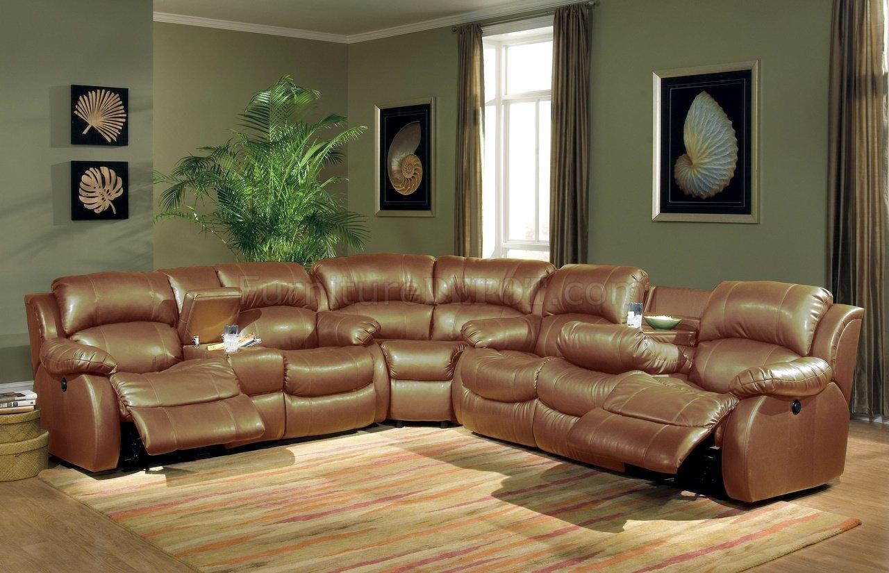 Transitional Brown Bonded Leather Sectional W/recliner Mechanism Within Sectional Sofa Recliners (Image 20 of 20)