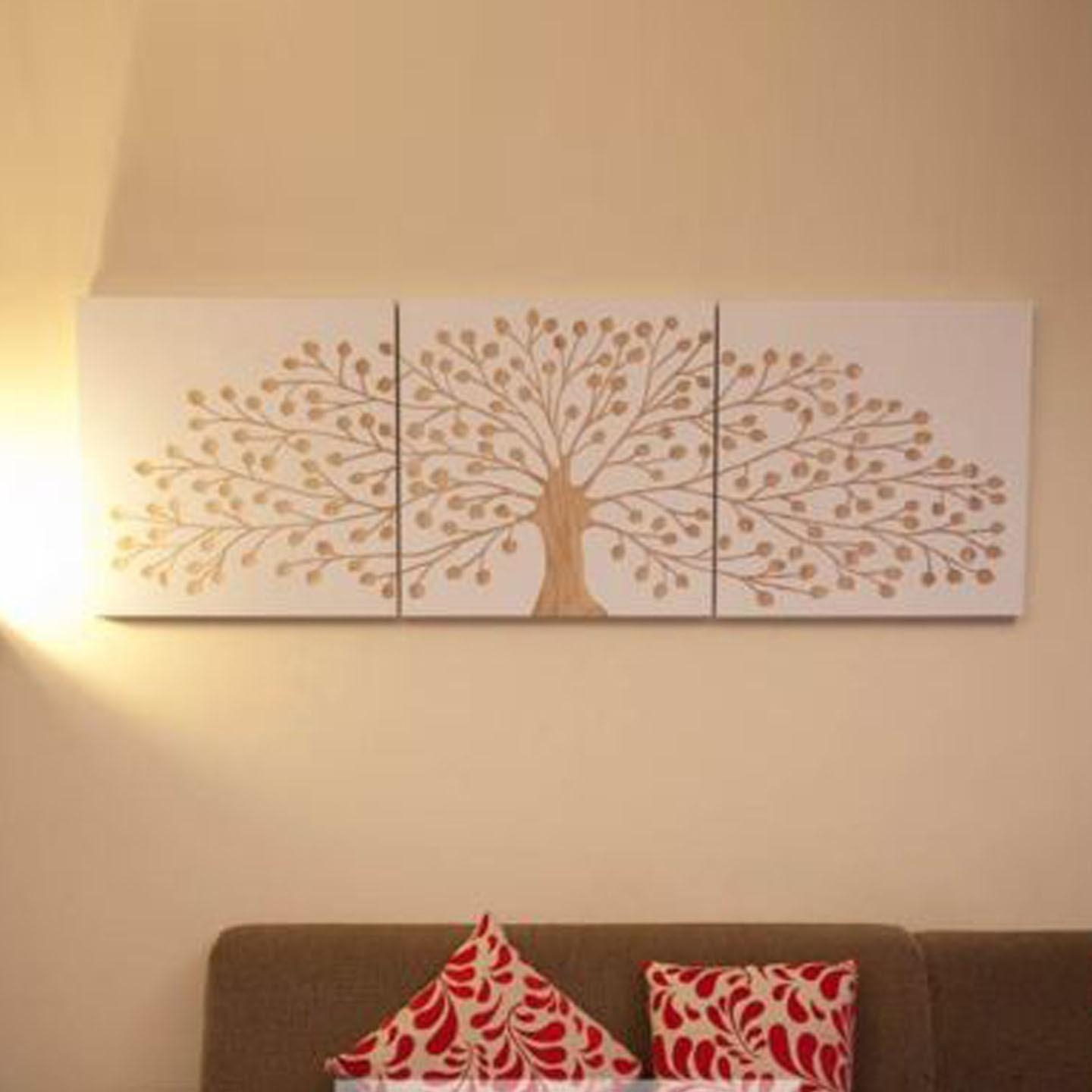 Tree Of Life 60 X 60Cm – White – 3 Panels Triptych Wall Art Within Tree Of Life Wood Carving Wall Art (Image 9 of 20)