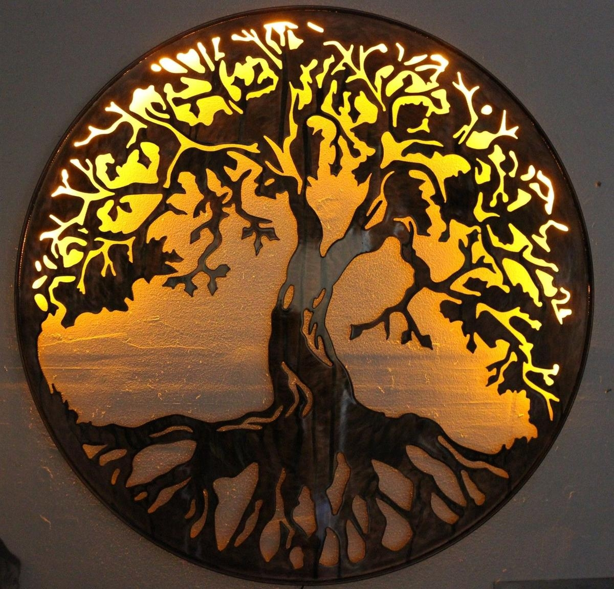 """Tree Of Life Metal Wall Art 24"""" With Led Lightshgmw Within Copper Oak Tree Wall Art (View 12 of 20)"""