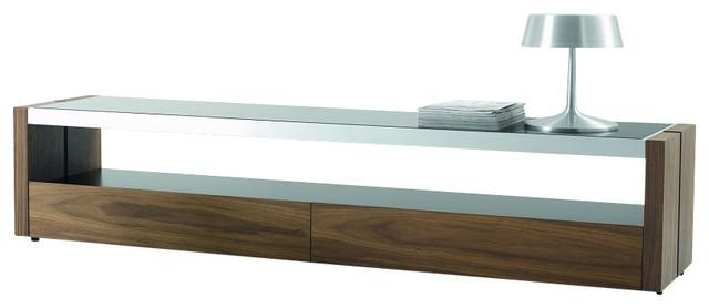 Trieste Tv Stand, Matte Walnut With Black Glass Top – Modern In Most Recent Modern Glass Tv Stands (Image 15 of 20)