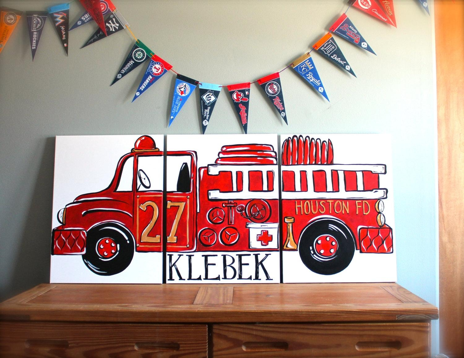 Triptych Red Vintage Fire Truck (View 2 of 20)