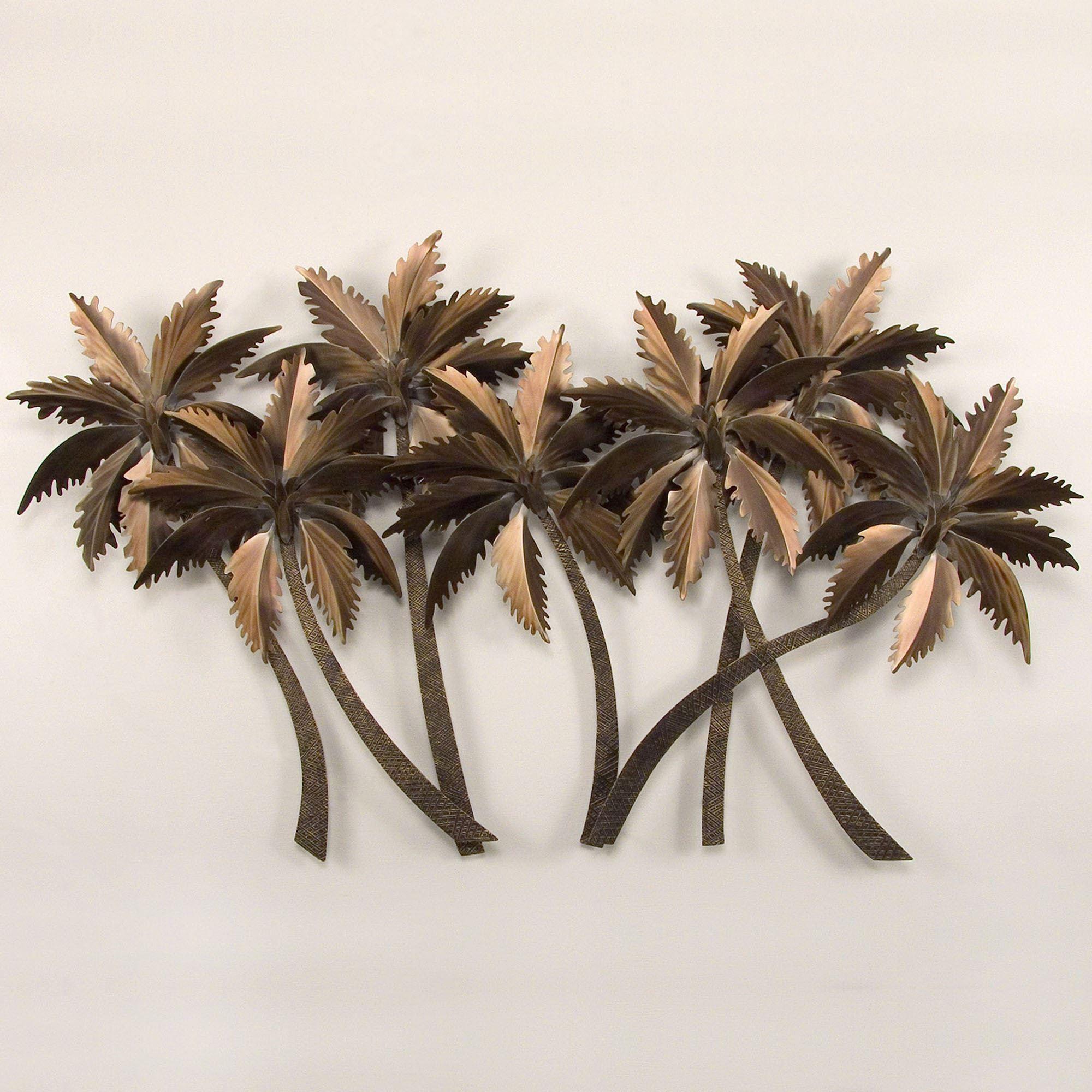 Tropical Palm Grove Metal Wall Sculpture Inside Palm Tree Metal Wall Art (Image 16 of 20)
