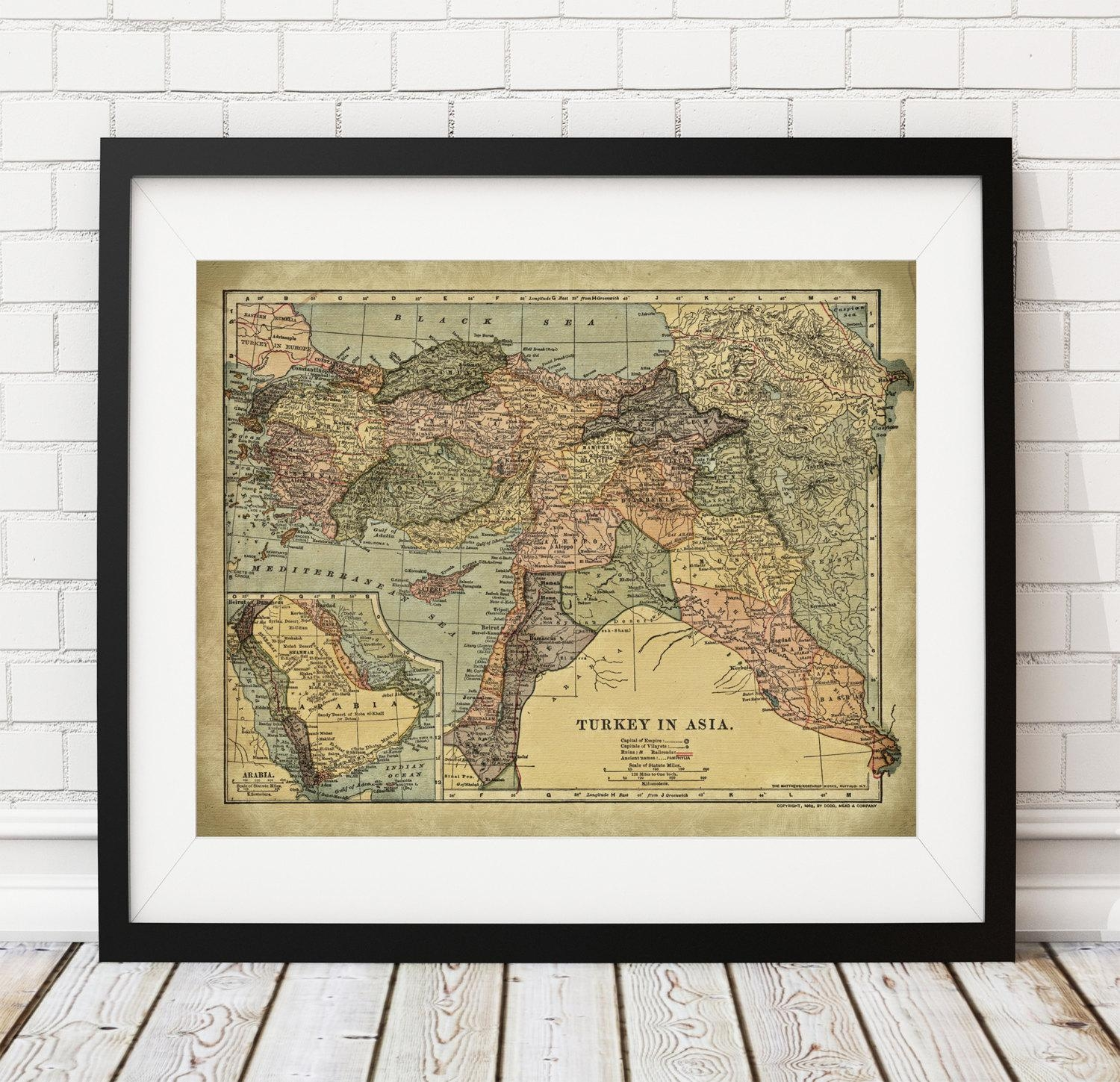 Turkey Map Print, Vintage Map Art, Antique Map, Map Poster Within Turkish Wall Art (View 8 of 20)