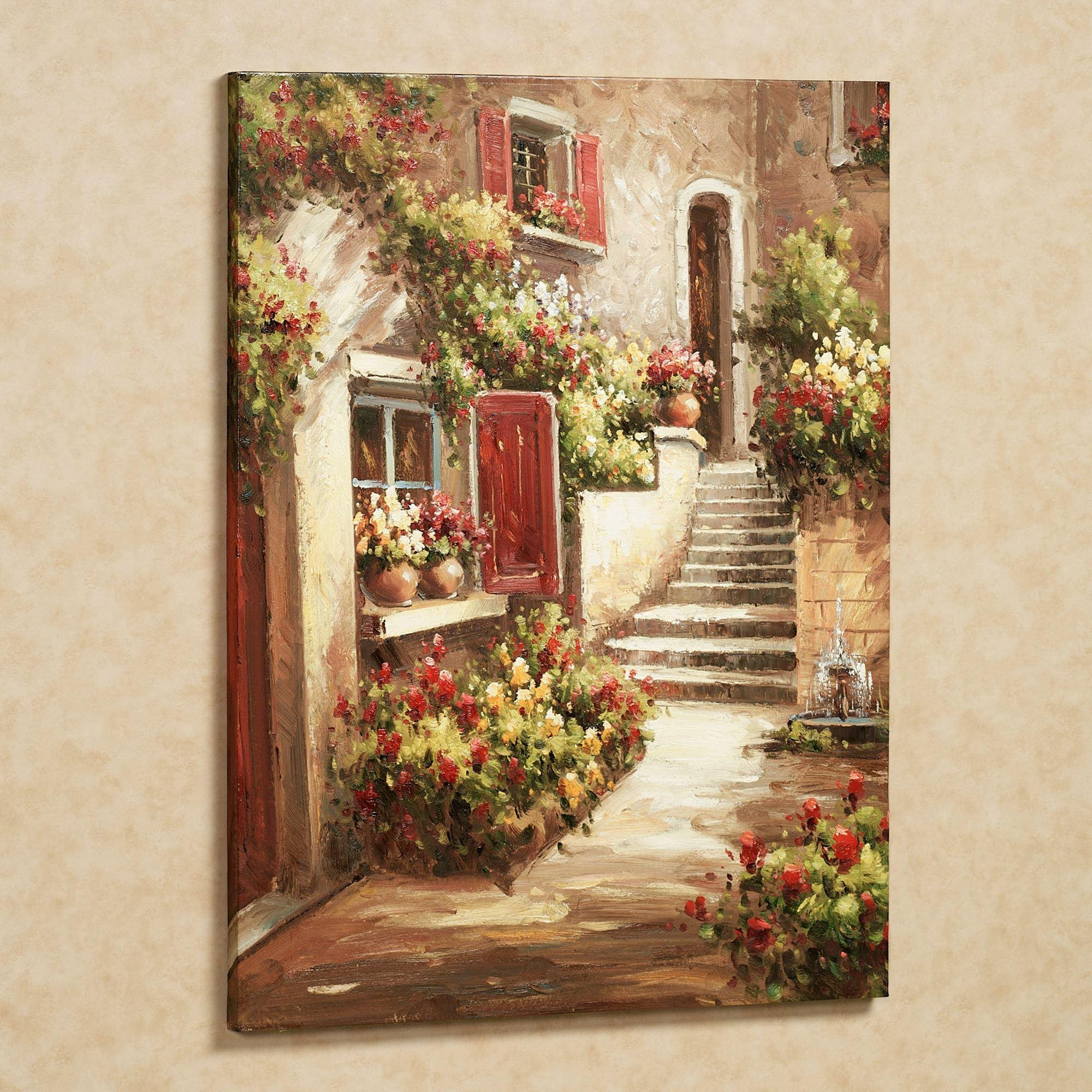 Tuscan Flowers Canvas Wall Art For Italian Village Wall Art (View 4 of 20)